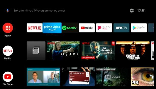 ANDROID TV: Brukervennlig og med lassevis av smart-tv-muligheter. (Skjermdump)