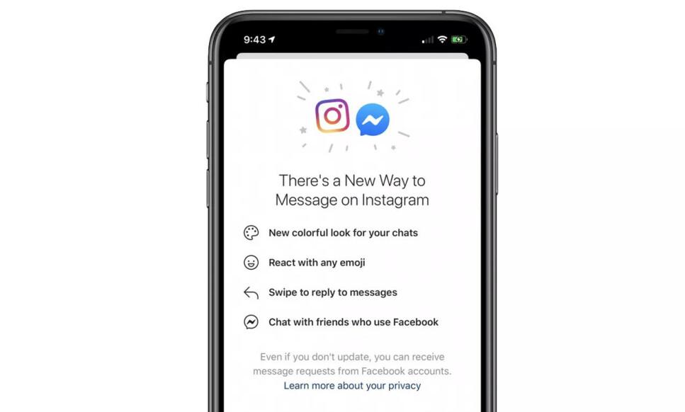 FELLES INNBOKS: Facebook er i gang med å slå sammen chattetjenestene sine. I første omgang vil du få Facebook Messenger i Instagram.