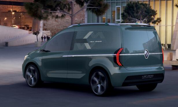 VAREBILUTGAVE: Personbilen får helt sikkert ikke 40/20 delt bakluke men topphenglset hel bakluke og den får skyvedører. Illustrasjon Renault.