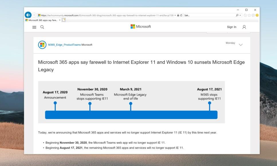 INTERNET EXPLORER 11: Microsoft jobber aktivt for å få brukere til å slutte å bruke den utskjelte nettleseren. Foto: Skjermdump