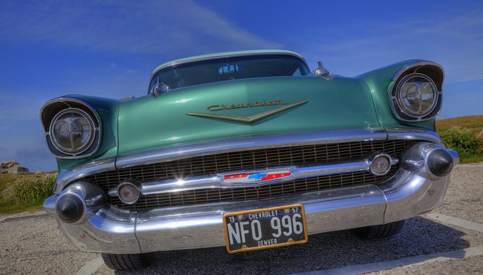 KOMMER TIL NORGE: «Amerikanske bilskilter», som på denne Chevrolet Bel Air fra 1957, kan snart fås på norsk-amerikanske biler. Foto: Scandinavian Stockphoto
