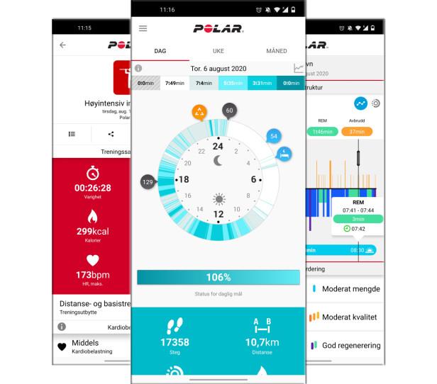Polar Flow-app. Foto: Skjermdump