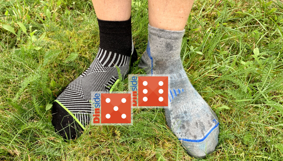 TRENINGSSOKKER I PLAST ELLER I ULL? Vi har satt løpesokker i plast på prøve (til venstre), mot treningssokker i ull (til høyre). Begge imponerer. Foto: Sofie Sørdal-Svendsen