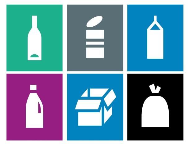 NYE MERKER FOR KILDESORTERING: Det grønne øverst til venstre er glass; den grå ved siden av er metall - og den blå øverst til høyre er drikkekartong. Den lilla nederst til venstre er plast; den blå ved siden av er kartong, papp og papir - og den svarte til høyre er restavfall. Foto: Grønt Punkt