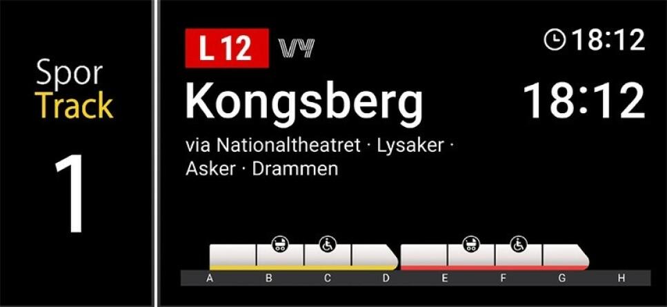 NY INFORMASJON: Vy og Bane Nor vil fremover vise fyllingsgrad på togsettene. Foto: Bane Nor