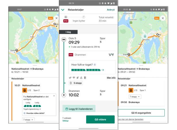 I Vy-appen kan du se hvor toget befinner seg og hvor fulle togsettene her.