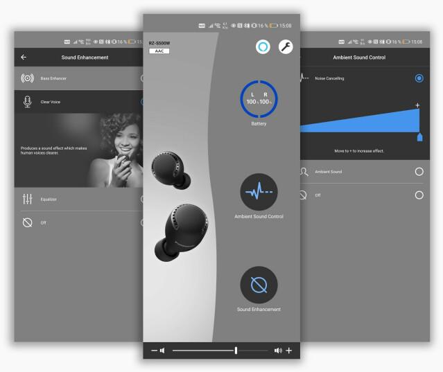Panasonics app lar deg både justere lydbildet og støykanselleringen.