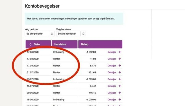 IKKE FEIL: Du blir ikke belastet for mer enn du skal selv om det er flere rentebelastninger på studielånet ditt. Foto: skjermdump.