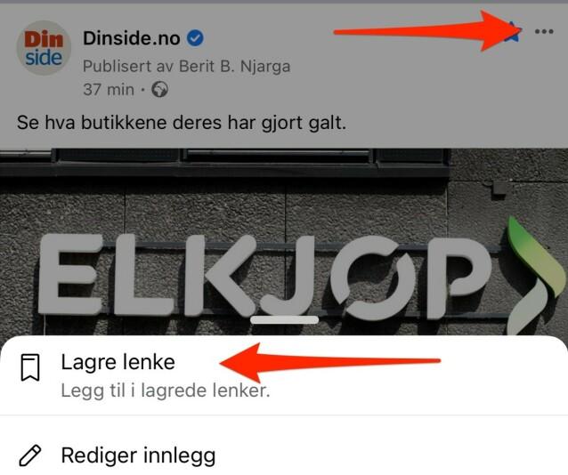 <strong>LAGRE LENKE:</strong> Facebook har en bokmerke-funksjon som lar deg lagre innlegg i nyhetsfeeden din, enten det er lenker, bilder, sider, steder eller arrangementer. Foto: Kirsti Østvang