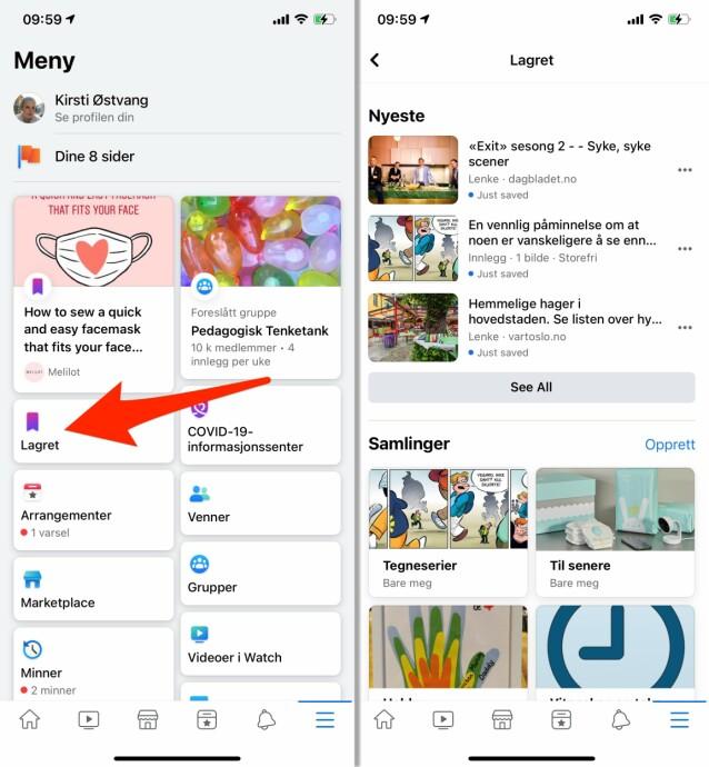 SE HVA DU HAR LAGRET: Du finner de lagrede lenkene dine i en egen seksjon fra Facebooks mer-meny. Skjermbilde: Kirsti Østvang