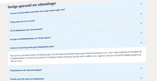 På sine nettsider ber TUI om forståelse for at tilbakebetalingene tar lengre tid enn normalt. Skjermbilde: Tui.no