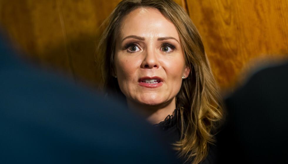 Distrikt- og digitaliseringsminister Linda Hofstad Helleland (H) sier at regjeringen har nådd målet de satte seg i 2016. Foto: Fredrik Varfjell / NTB scanpix