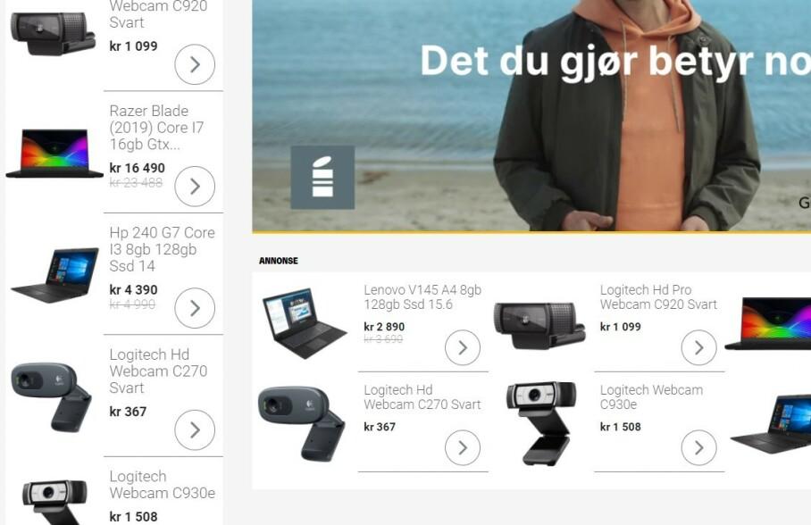 KJENT FOR MANGE: Jeg har gjort noen søk på webkameraer og PC-er i det siste. Derfor får jeg opp disse annonsene «overalt». (Skjermdump)