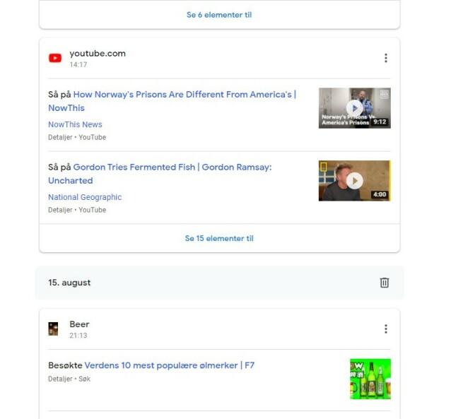 Google har en liste over alt du har gjort på internett