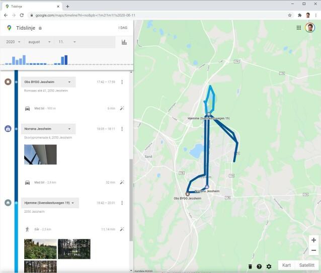 ALLE DETALJER: 11. august var jeg på Obs Bygg i 17 minutter. Deretter kjørte jeg 900 meter med bil, før jeg tok turen innom Norrøna-butikken. På kvelden gikk jeg en tur på 2,3 kilometer i skogen, og tok tre bilder. Alle bevegelsene ser jeg i kartet til høyre. (Skjermdump)