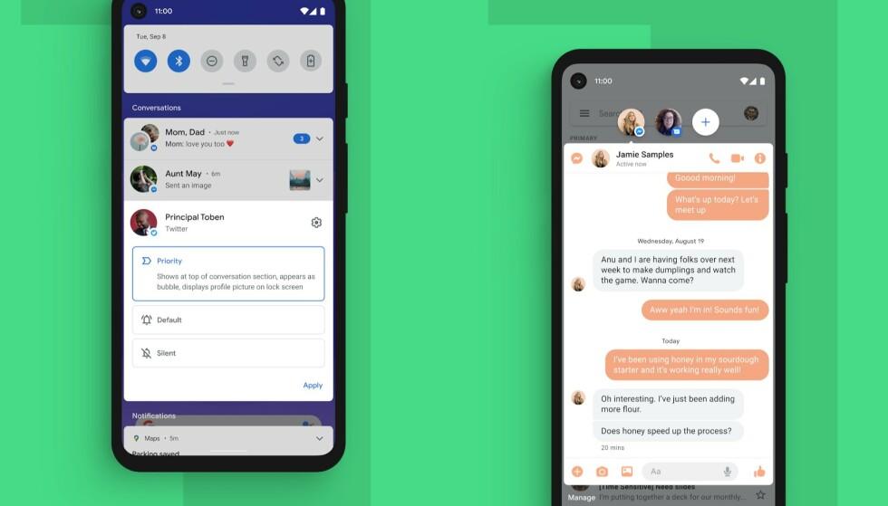 Samtaler er gruppert på toppen, og du kan velge hvilke som prioriteres. Android 11 får også støtte for chattehoder. Foto: Google