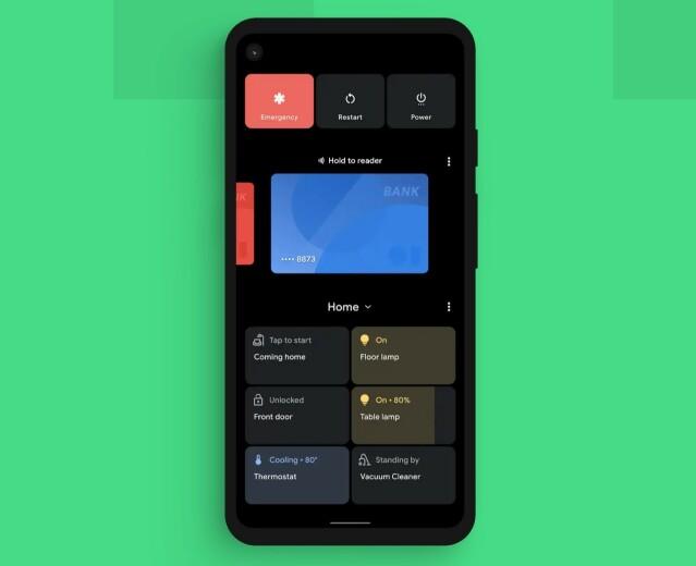 I den nye power-menyen finner du nå knapper til styring av smarthjem, samt muligheten til å velge hvilket kort du vil bruke når du legger telefonen inntil en leser. Foto: Google