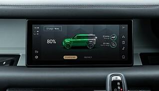 TO TIMER: Tiden det skal ta å lade Defender P400e sine batterier til 80 prosent. Foto: Land Rover