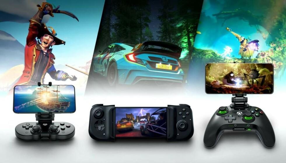 Et utvalg kontrollere og holdere som fungerer med Xbox Cloud Gaming. Foto: Microsoft