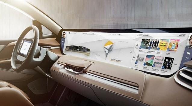 <strong>ENDA STØRRE:</strong> Trenden går mot større og større skjermer i moderne bilder. Kinesiske Byton, som planlegger å introdusere sin første elbil i Norge neste år, vil ha en ekstremt stor skjerm i sine biler. Foto: Byton