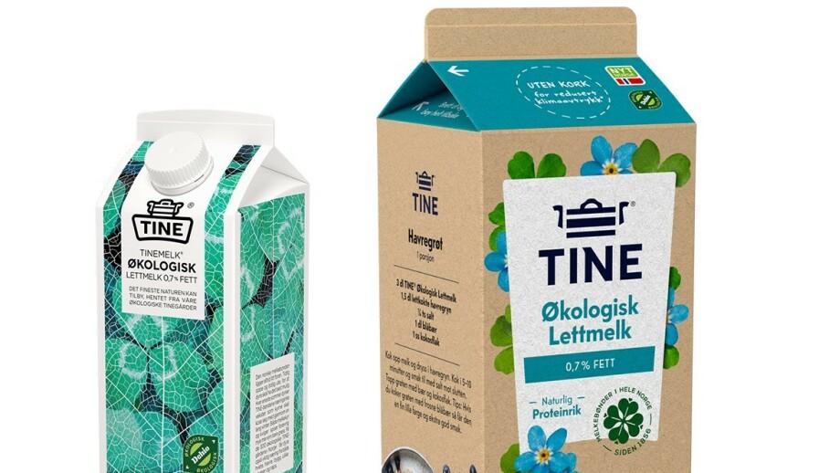 NY EMBALLASJE: Den nye melkekartongen er ubleket og med klassisk «brett ut og bøy helt tilbake»-åpning. Foto: Tine