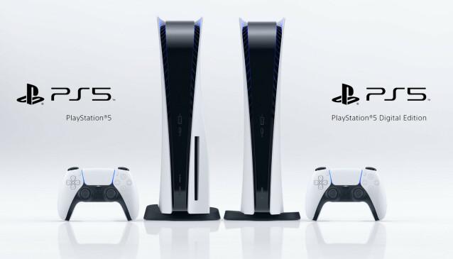 Digital edition av PS5 mangler optisk drev og er derfor litt slankere. Ellers skal de to konsollene være like. Foto. Sony