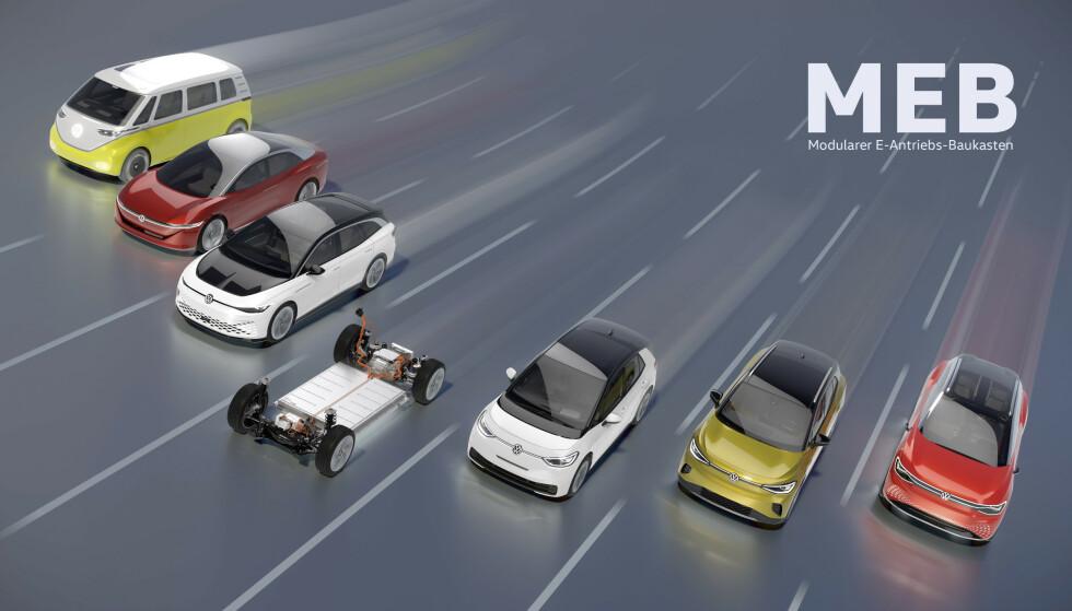 <strong>DET KOMMER MER:</strong> VW vil bli størst på elektrisk og her ser du de foreløpige planene. I tillegg er plattformen solgt til flere andre bilprodusenter. Ill: VW