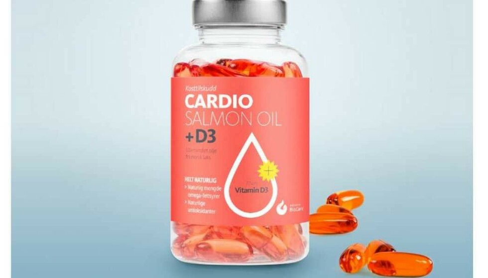 TREKKES: Hofseth BioCare ASA, trekker tilbake kosttilskuddet «Cardio Salmon Oil + D3». Ifølge etiketten er produktet laget av ubehandlet olje fra norsk laks, samt «helt naturlig». Foto: produsenten
