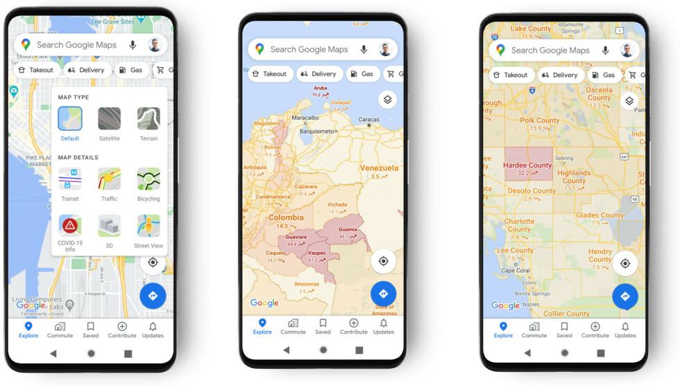 SE SMITTEN: Snart kan du se smittetrykket ulike steder direkte i Google Maps. Foto: Google