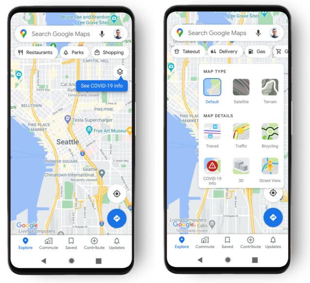 Trykk på knappen som anvist på det venstre bildet, og på Covid-19-ikonet på det høyre bildet når du har fått oppdateringen. Foto: Google