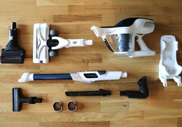 Det følger med en del utstyr i pakken på støvsugeren fra OBH Nordica.