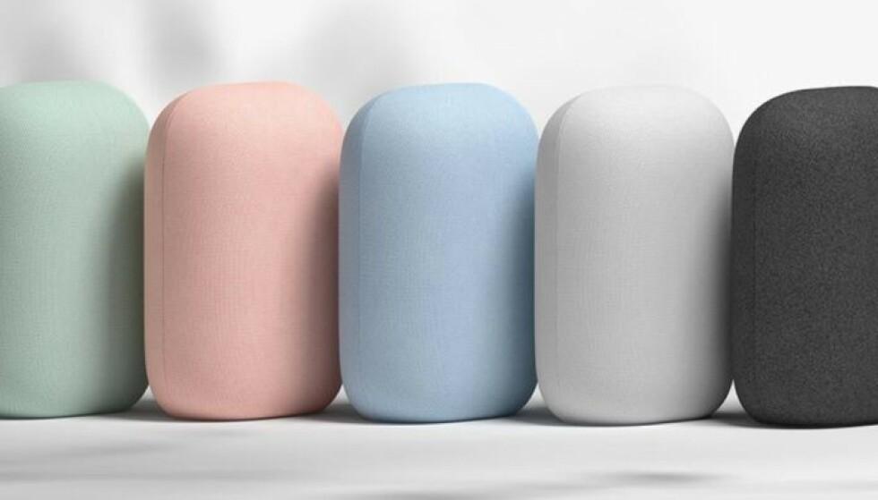 <strong>NEST AUDIO:</strong> Den nye Google-høyttaleren kommer i fem farger. Foto: Google