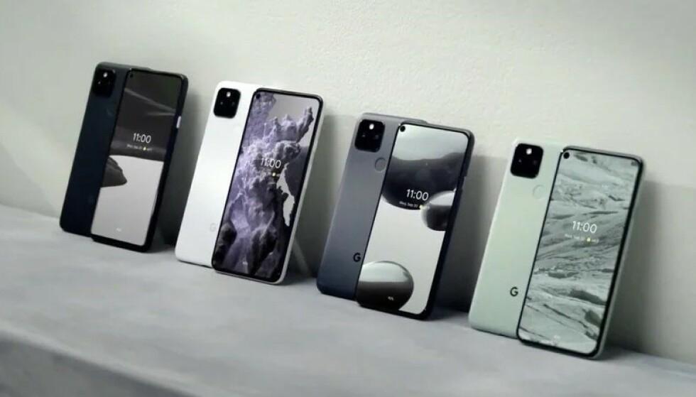 PIXEL 5 OG PIXEL 4A: Google lanserte to smarttelefoner – ingen av dem blir tilgjengelig i Norge med det første. Foto: Google