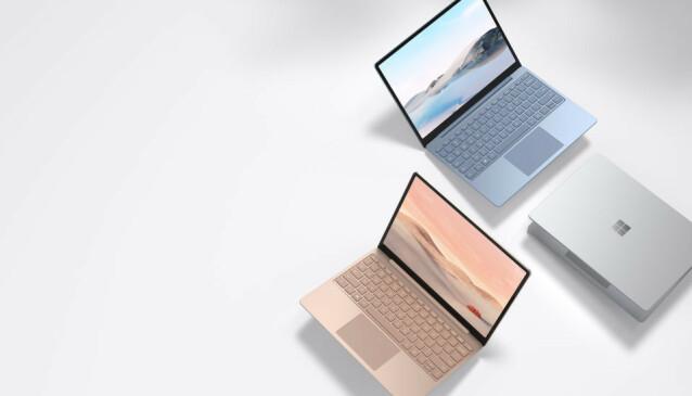 <strong>SURFACE LAPTOP GO:</strong> Microsoft «billig-Surface» kommer i tre farger. Foto: Microsoft
