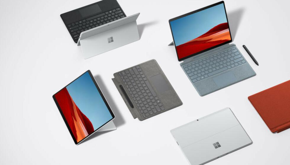 SURFACE PRO X: Mye er likt med forgjengeren, men nyeste Surface Pro X kommer blant annet i platina. Foto: Microsoft