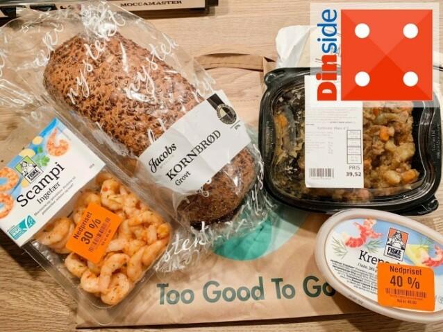 Dette fikk vi i posen fra Meny.Spennende utvalg - men kort tid på å få spist opp varene. Foto: Eilin Lindvoll