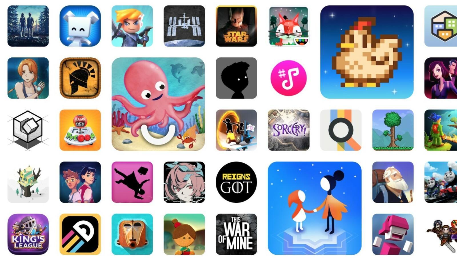 Her er noen av spillene som er inkludert i Play Pass-abonnementet. Foto: Google