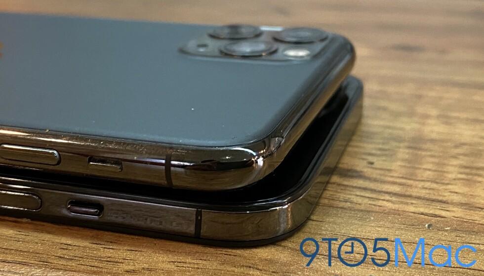NYTT DESIGN: Årets nye iPhone-modeller dropper de avrundede kantene til fordel for et mer kantete design, ifølge ryktene. Foto: 9to5Mac.