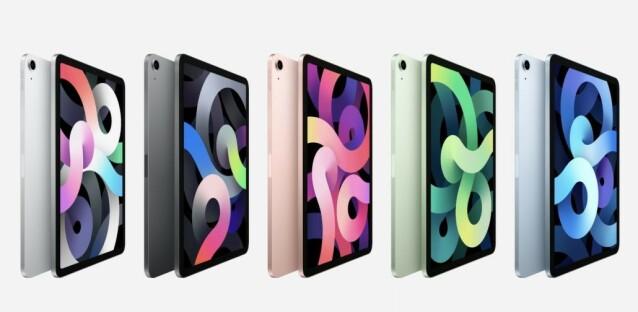 LEKKER NYKOMMER: Apples nye iPad Air får den vanlige iPad-en til å fremstå relativt grå og kjedelig. At den kommer i nye farger som grønn og blå spiller selvsagt inn. Foto: Apple