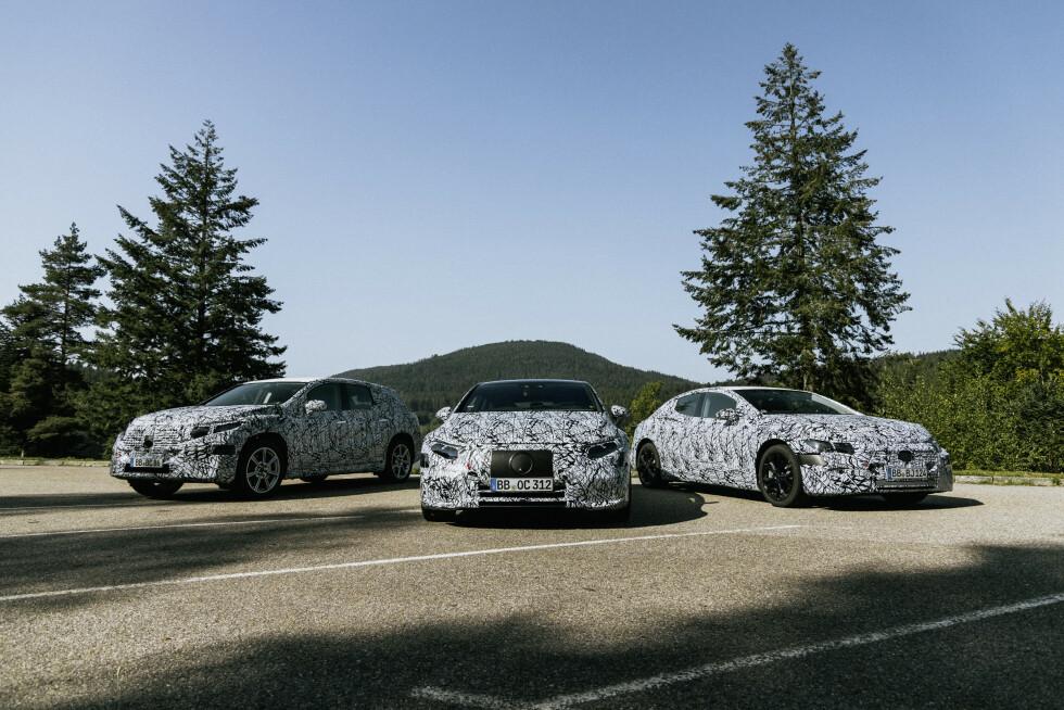 <strong>KOMMER SNART:</strong> Mercedes-Benz EQS SUV (2022), Mercedes-Benz EQS (2021) og Mercedes-Benz EQE (2021) er med unntak av flerbruksbilen EQV de største elektriske Mercedes-ene til dags dato. Foto: Daimler