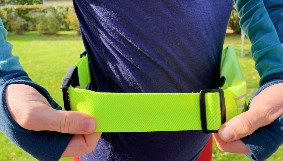 Beltet kan justeres, men passer ikke damer i størrelse medium. Og det sklir opp og blir ekstra stort under løping. Foto: Sondre Chávez-Njarga