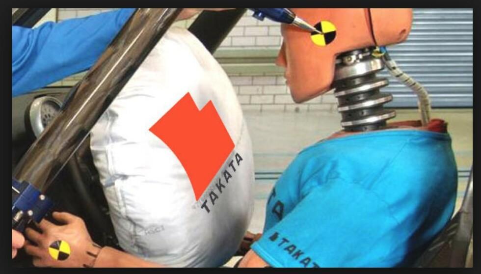 <strong>TAR LIV:</strong> Kollisjonsputa skulle redde liv, men har drept minst 26. Rundt 100 millioner biler er kalt tilbake for å bytte ut putene fra Takata. Foto: Takata