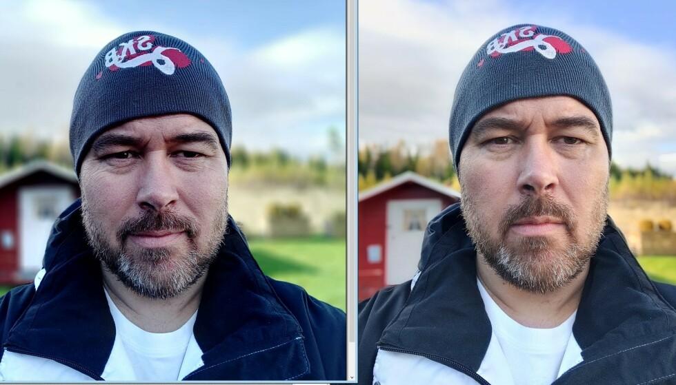 BLÅSKJÆR: Bildet til venstre er tatt med Nokia 8.3. Det har vesentlig mer blåskjær i seg enn portrettet tatt med OnePlus Nord til høyre - som er mer korrekt gjengitt. Det kunstige uskarp-filteret rundt lua er imidlertid bedre løst på Nokia 8.3