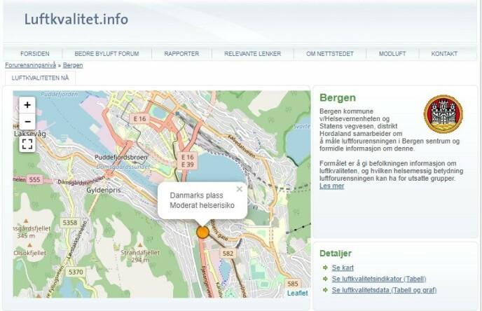 <strong>VARSLER:</strong> Luftkvalitet.info varsler om at det i skrivende stund er moderat helserisiko ved Danmarks plass i Bergen. (Skjermdump)