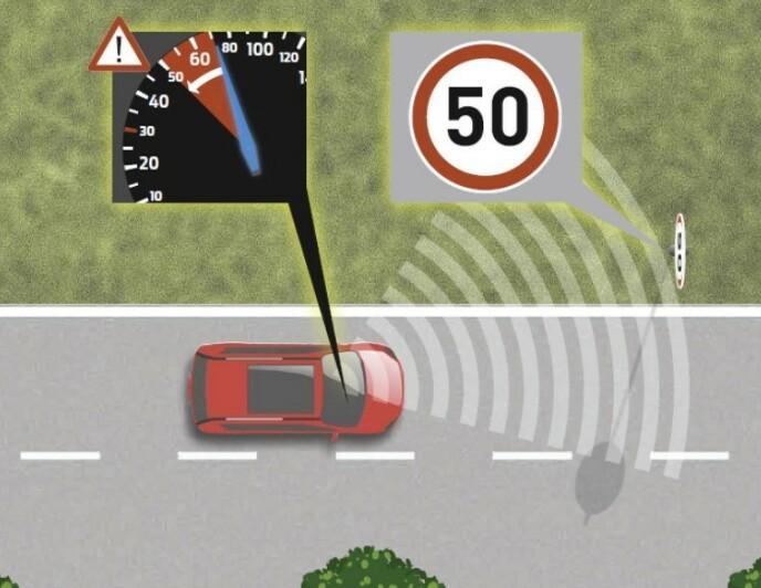 LESER SKILTENE: Et kamera i bilen leser skiltene og fartsholderen sørger for at bilen automatisk tilpasser seg riktig hastighet. Ill: ETSC