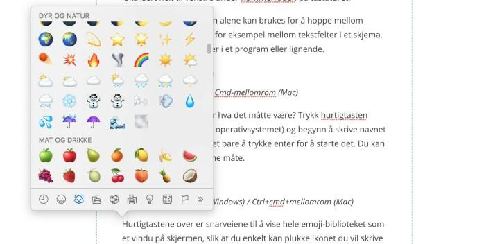 Her har vi trykket hurtigtasten for emojier.