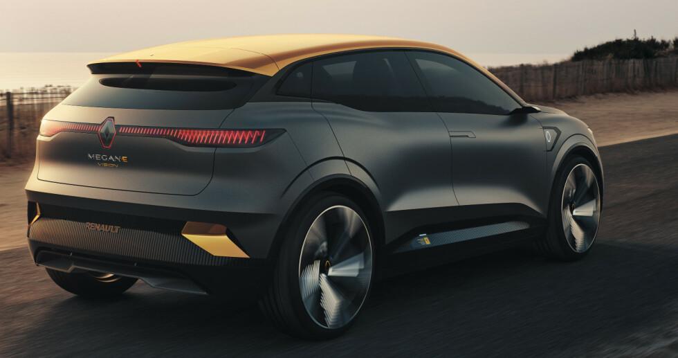 KOMMER NESTE ÅR: Den kalles et konsept, men den nye helelektriske Megane blir trolig ikke helt ulik dette ferskeste bildet, siden den skal kjøre på norske veier allerede neste år. Foto: Renault.