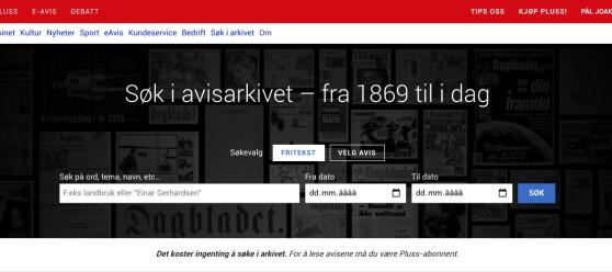 Søk i Dagbladets avisarkiv