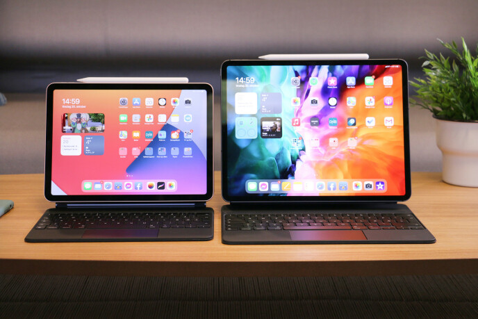 VALGETS KVAL: Mange sitter nå og lurer på om de skal gå for nye iPad Air (til venstre) fremfor den dyrere iPad Pro (høyre). Foto: Kirsti Østvang