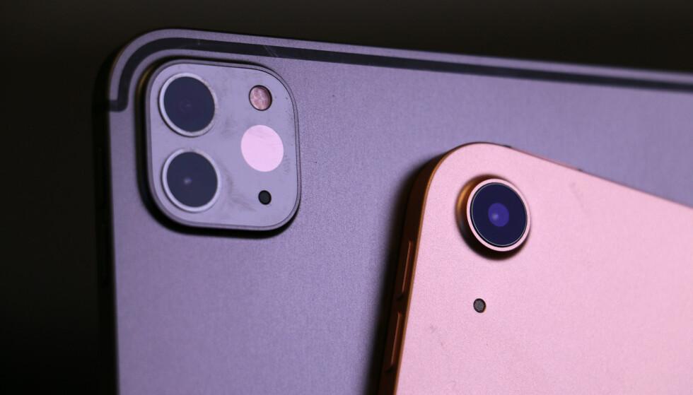 ETT VS. TO: iPad Air har ett hovedkamera, mens iPad Pro har et dobbeltkamera, altså to kameraer, i tillegg til en lidar-skanner (den tredje rundingen på kamerahumpen bak). Foto: Kirsti Østvang
